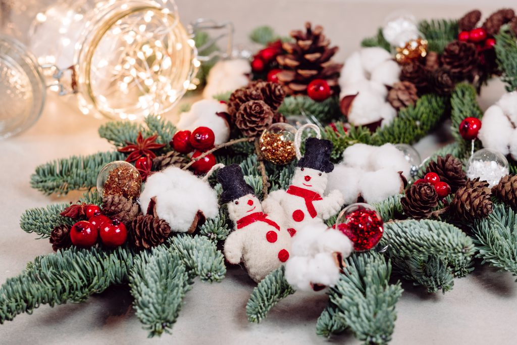 Christmas spruce decoration with lights in a jar 2 - free stock photo