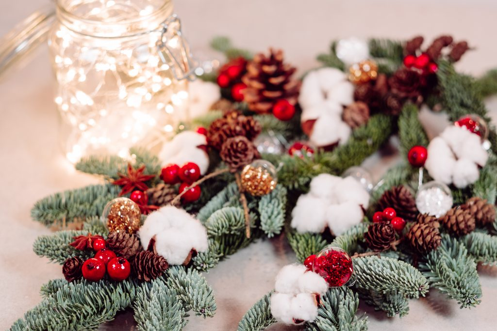 Christmas spruce decoration with lights in a jar 3 - free stock photo