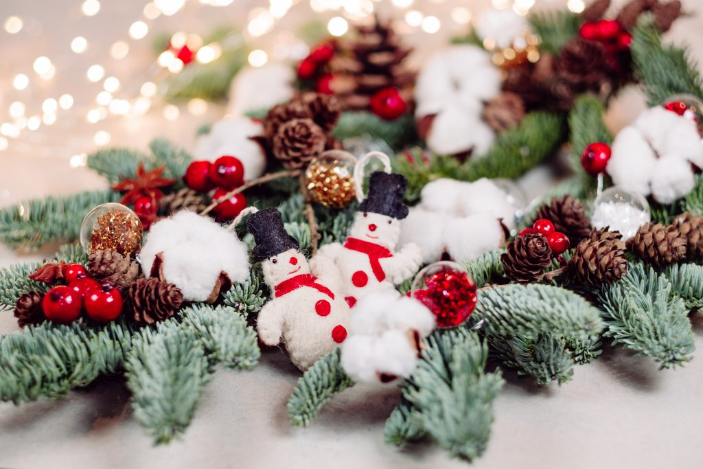 Christmas spruce decoration with snowmen and lights - free stock photo
