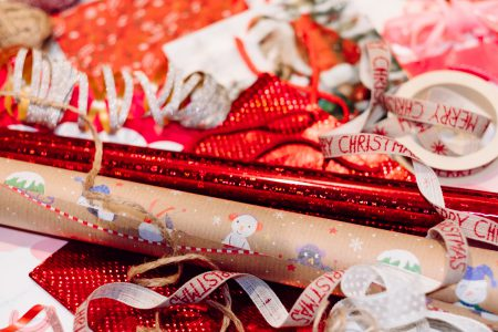 Christmas bags, wrapping paper and ribbons 7 - free stock photo