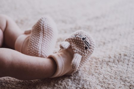 Bunny slippers on newborn's feet 2 - free stock photo