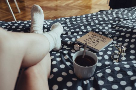Chilling in bed in woollen socks 4 - free stock photo