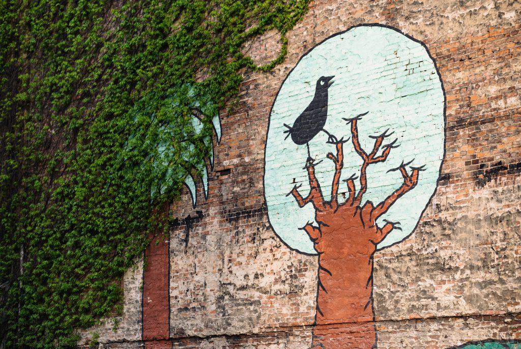 Graffiti of a black bird sitting on a tree on a brick wall - free stock photo