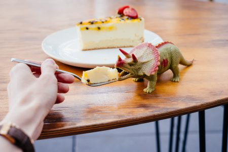 Pretending to feed cake to a rubber toy dinosaur - free stock photo