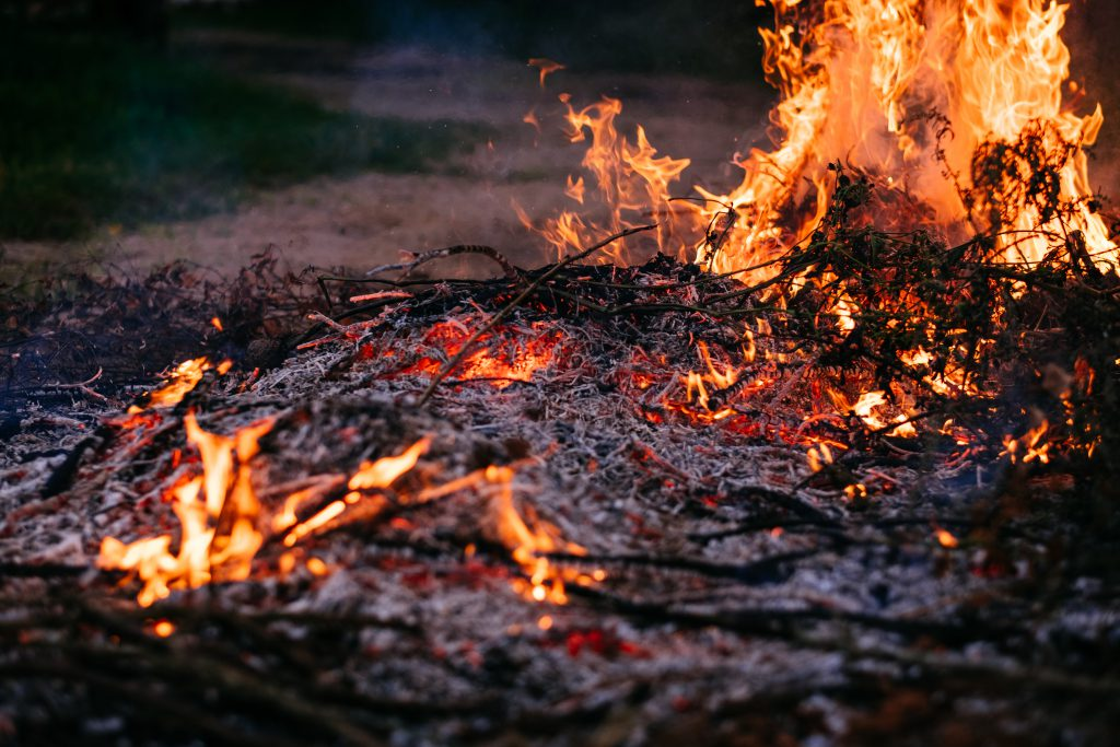 Bonfire flames and ashes 4 - free stock photo