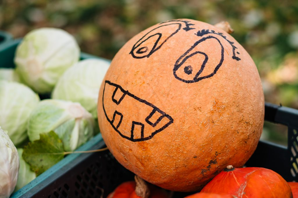 Pumpkin with a drawn face at an outdoors vegetable market 2 - free stock photo